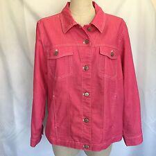 Pink Denim & Co Jacket Stretch Size Large Jean Barn Coat Long Sleeve