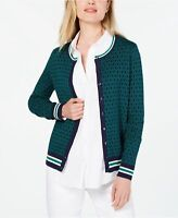 Charter Club Women's Patterned Cardigan Sweater Green Size Large