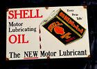VINTAGE+SHELL+MOTOR+LUBRICANT+20%E2%80%9D+PORCELAIN+SIGN+CAR+TRUCK+OIL+GAS