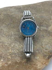 Blue Sterling Silver Watch Tips Navajo Jewelry Alloy Watch Head 2703