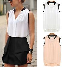 Womens Summer Chiffon V neck Sleeveless OL T Shirt Blouse Ladies Tops Size 6-14