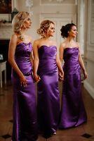 Satin Bridesmaid Dress Wedding Evening Ballgown Prom Formal Floor length UK
