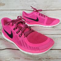 Nike Free Run 5.0 Pink Black White Running Shoes GS Girls Size 7Y