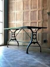 Antique Industrial Table, Brass Steel Cast Iron Cartographers Desk, Dining Table