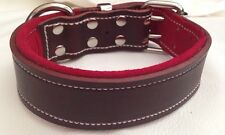 X-Large Brown Leather Dog Collar with Soft Red Suede Padded Inner Lining