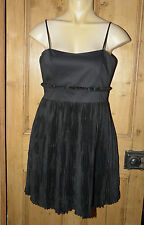 NWT FRENCH CONNECTION BLACK SATIN FIT AND FLARE DRESS 12-14 ref 846