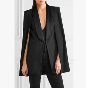 Womens Blazers Lapel Satin Collar Slim Fit Jacket Cloak Shawl Mid-Length Outwear