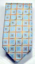 Designer Krawatte hellblau gold mit Quadraten blau   P1292 VKF NEU