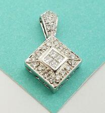 18k White Gold Square Shape Diamond Pendant