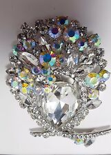 NEW KIRKS FOLLY LARGE ROYAL CRYSTAL BROOCH PIN SILVER TONE