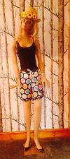*RARE* Polka Dot Shorts Skirt Handmade Kitsch Retro Vtg Beaded Fringing