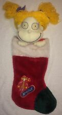 """Angelica Rugrats Plush Red Green Christmas Stocking Large 26"""" Yarn Hair"""