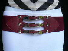 WOMEN HIP WAIST RED COLOR WAISTBAND FAUX LEATHER BELT 3 SILVER METAL BUCKLES M L