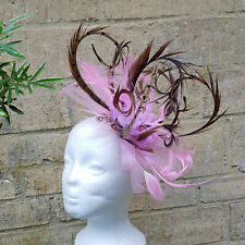 Pheasant Feather Pink Sinamay flower fascinator clip or hair band accessory