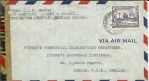 British Guiana SG#317- Value(single frank) AIRMAIL G.P.O. 18/JA/45 WWII