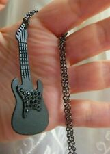 """- 33"""" Gunmetal Cable Chain New Music 36"""" Necklace Black Rhinestone Guitar on 30"""""""
