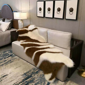 Luxury Faux Fur Hides Rug Beige Ivory Grey Lounges Throw Long Hair Area Rug Mat