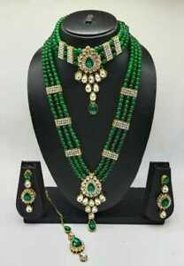 Indian Bridal Jewelry Ethnic Gold Plated Fashion Pearl Bollywood Necklace Set