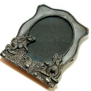"""Vintage Metzke USA Bunny RABBIT Pewter Picture Frame 1993 Easter Heavy 3""""x4"""""""