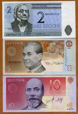 SET Estonia, 2;5;10 Krooni, 1992-2007,  Ex-USSR, UNC > Pre-Euro