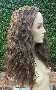 medium brown wavy curly frizzy puffy 3/4 half head long hair wig fancy dress new