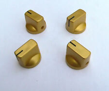 Small gold knobs set of 4 for valve radio, amplifiers or guitar pedal knob