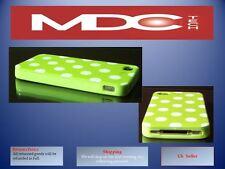 IPhone 4 4S VERDE BIANCO POIS macchie retro copertina caso TPU della pelle