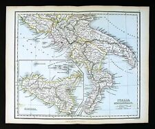 1857 Findlay Map - Italia - Ancient Italy Sicilly - Naples Rome Vesuvius Paestum