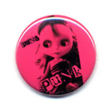 Badge PINK POUPEE PUNK Doll cute rose rockabilly rock goth kawaii kustom Ø25mm