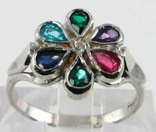 CLASS 9K 9CT WHITE GOLD VINTAGE INS MULTI STONE DEAREST RING