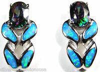 Rainbow Topaz and Blue Fire Opal Inlay 925 Sterling Silver Stud Post Earrings