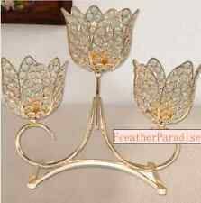 Crystal Gold 3 Arms Metallic Floral Riser/Wedding Centerpieces/Unity Candle Hold