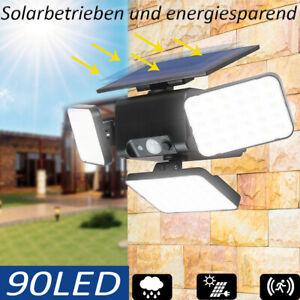 90 LED Solarleuchte Solarlampe mit Bewegungsmelder Außen Fluter Sensor Strahler