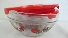 IMPERIAL GLASS NESTING BOWLS RED COVERS LIDS FRUIT DESIGN 10 PCS HEAT RESISTANT