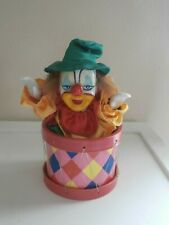 "Vintage 8"" Clown In Moves Drum Music Box Porcelain Head Plays Go to Sleep"