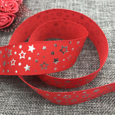 5yards 25mm print Five stars Hot silver Grosgrain Bow Ribbon Hair Sewing Red