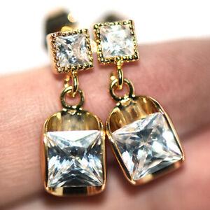 Long Womens Dangle Drop Earrings Gold Earings Crystal Stone Jewelry Fashion