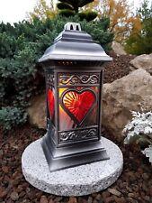 Grablaterne + LED + Granitsockel  Kerze Grablampe Lampe Grableuchte Grablicht