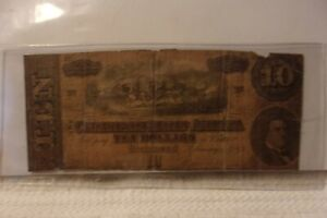 Authentic Confederate States America $10 Dollars Note Currency 1864 Rarity 2
