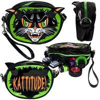 Kreepsville 666 Ladies Girls Kattitude Mini Clutch Make Up Purse Bags Zip Horror