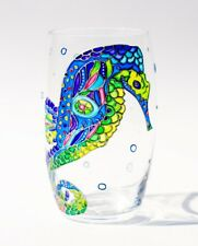 Seahorse Painted Beach Drinking Glasses Ocean Decor Stemless Wine Glasses Unique