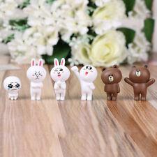6pcs Line Friends Club Capsule Mini Figure Collection Cony Rabbit Brown Bear