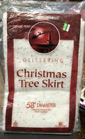 "Vintage Sparkl-Tex Glittering Christmas Tree Skirt 58"" diameter New In Package"