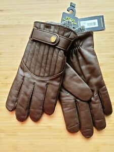 *NWT* Polo Ralph Lauren mens Leather Gloves touch screen finger tips Brown L