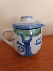 """Lovely M. A. Hadley Stoneware Lidded Syrup Pitcher  5.25"""" Tall A++"""