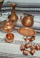 Vintage Copper Tea Kettle Teapots Pitcher Cup Napkin Rings Retro Kitchen decor