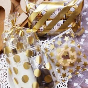 50pc White Golden Star Adhesive Cookies Gift Bag for Wedding Party Candy Food Bo