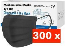 300 / 100 Medizinische OP Maske Typ IIR 2R Schwarz Mundschutz 3-lagig Einweg