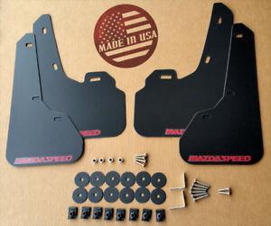 [SR] 10-13 Mazdaspeed 3 & Mazda 3 Mud Flaps Kit BLACK w/ Hardware & Vinyl Logo