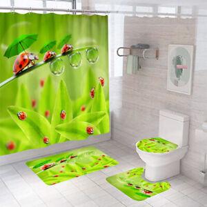 Ladybird Shower Curtain Bathroom Rug Set Bath Mat Non-Slip Toilet Lid Cover